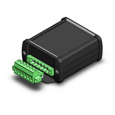 A black rectangular device with a green rectangular structure mounted on the end.