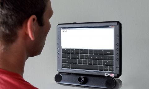 """A monitor with IntelliGaze functions that have typed out the word """"hello"""" while a user gazes at the screen."""