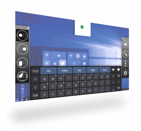 On-screen keyboard featuring buttons to select with various words, including: he, hello, her, help, and hear.