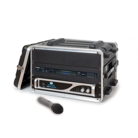 An encased black rectangular device with a digital display and various menu options, including volume level and acoustic control.