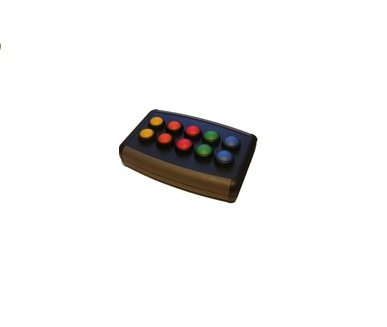 A black rectangular device with 10 buttons in yellow, orange, red, green, and blue.