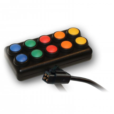 A black rectangular device with a cord on the bottom and 10 buttons in yellow, orange, red, green, and blue.