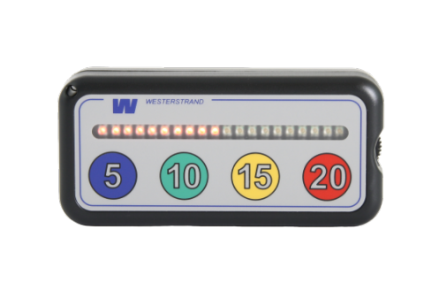 A gray rectangular device with a horizontal row of lights above the numbers 5, 10, 15, and 20.