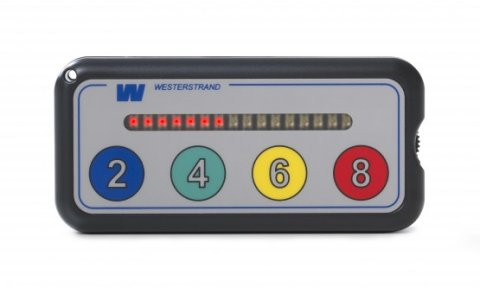 A gray rectangular device with a horizontal row of lights above the numbers 2, 4, 6, and 8.