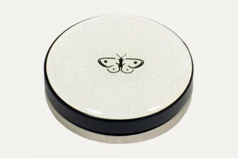 A blue round disk with a black base and a butterfly logo in the middle.