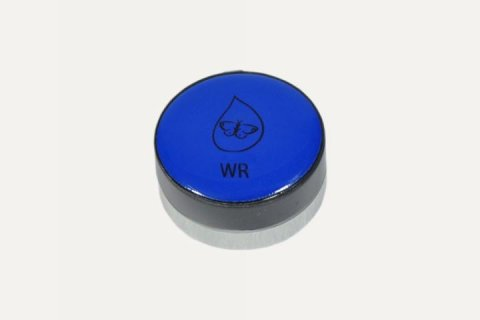A blue round disk with a black base and a butterfly and water drop logo in the middle and the letters WR below it.