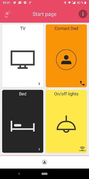 Start page with menu options featuring TV, Contact Dad, Bed, and On/Off Lights.