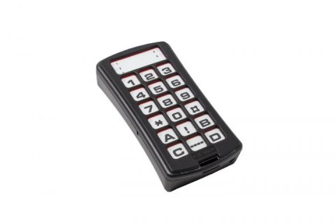 A black rectangular device with 18 buttons featuring letters, numbers, and symbols.