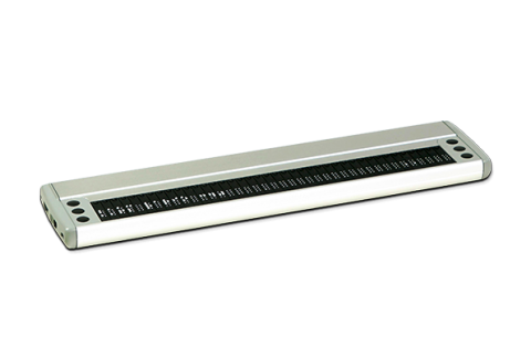 A flat, white rectangular device with a USB port and power switch on the left hand end. The center is made up of black braille cells. There are six function keys: three left and three to the right of the braille display.