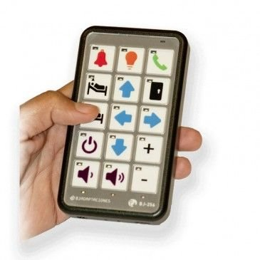 A remote control with various icons and arrows to indication functions.