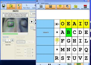 Screenshot showing a split screen, with an image of user's eyes on the left and an on-screen keyboard on the right.
