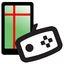 Drawing of a white rectangular input device outlined in black superimposed over a smartphone with a grid on it.