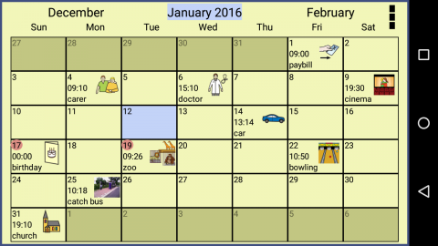 A calendar with appointments represented via symbols, words, and photos.