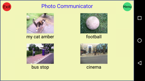 A screenshot of four photos, each representing a word below it, for example, the words bus stop with a photo of a bus stop above.
