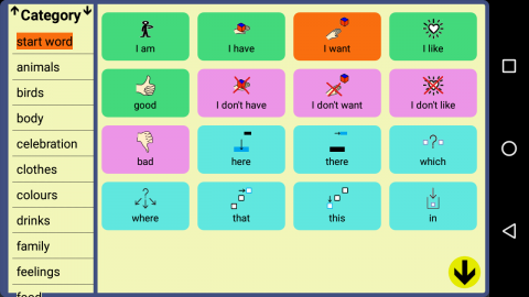 A screenshot of the categories menu column and a selection of words and phrases with corresponding symbols next to them.
