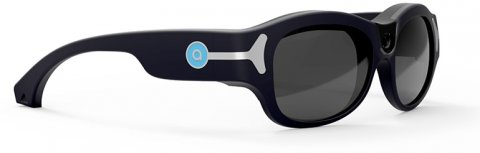 Aira Horizon glasses are shown with a heavy black plastic frame, darkened glass and a nose bridge only (no pads). The arms have a light blue circle with a  silver band that extends to the outer corner of the eyeglass.