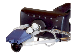 The Original Quadstick in black with a blue mouthpiece with 2 holes, connected to the quadstick with tubing.