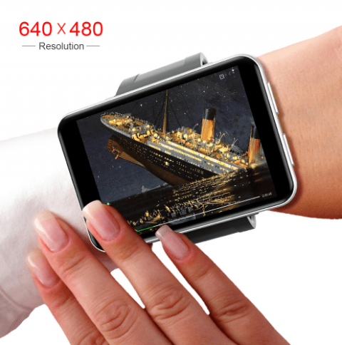 A mobile phone-sized tablet attached to a band that is wrapped around a wrist.