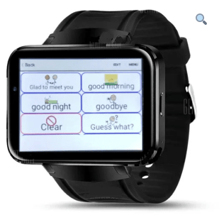A mobile phone-sized tablet attached to a band that is wrapped around a wrist. The screen features menu options features words and phrases such as good morning, goodbye, and good night.