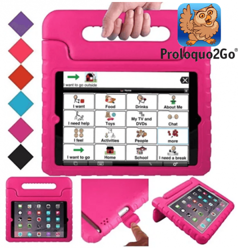 A pink carrying case with a handle and a tablet inside featuring the Proloquo2Go Speech App menu screen. The screen features word choices with corresponding illustrations.