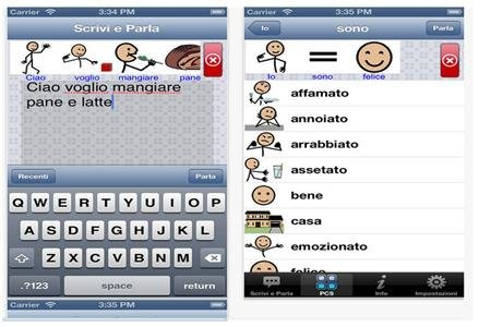 Text input box with a keyboard below and icons of stick figures above and a screenshot of a vocabulary list with corresponding icons next to the words.