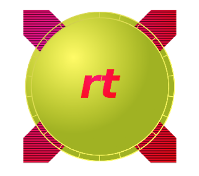"""A large green circle with """"rt"""" written in red lower case letters. Extending beyond the green circle, imaged in the background, is a large thick red """"X""""."""
