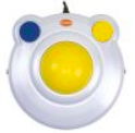 A large yellow trackball on a very wide white plastic base with a large blue button on the top left of the base and a large yellow button on the top right.