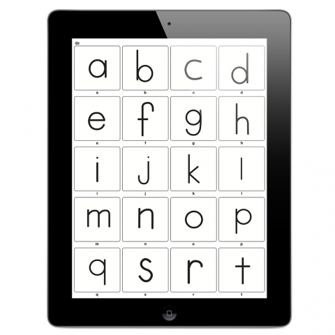 iPad displaying the alphabet in a grid.