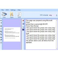 Text with menu options including file, OCR, setting, help, scan, open, OCR language, and others.