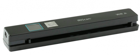 A wide but thin wand-like black rectangular device that has a space between the top and bottom pieces. On the top is a display window and a large silver button. Written in white are the words IRIScan wifi.
