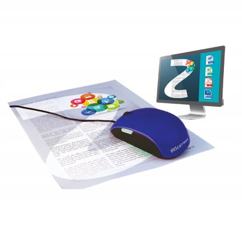 A corded blue mouse with a large white rectangular button on its side and a black wheel on its top is shown atop a document.