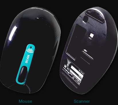 The top and underside of a black computer mouse side-by-side, The top has a wheel with a teal background and an LED indicator for Wifi. The underneath side of the mouse has a window for scanning.