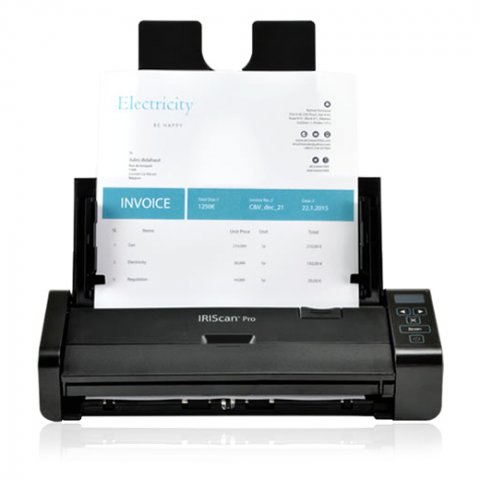 A black rectangular scanner with a page loaded in the paper support arm. The operating buttons are on the right side.