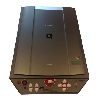 A device that resembles a standard flatbed scanner with large, touch button controls on the front side.