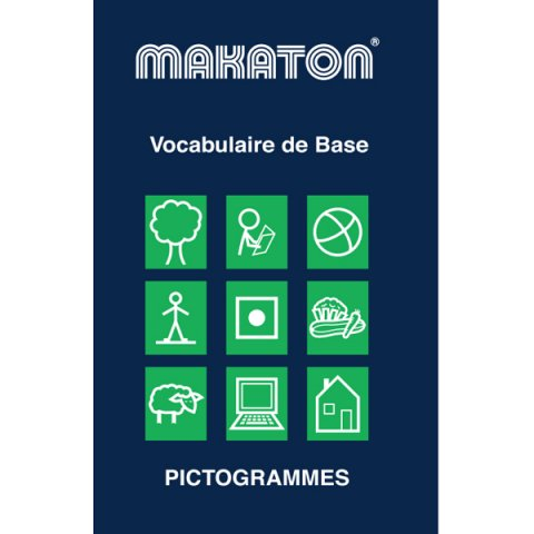 Cover of Makaton basic vocabulary package that includes a pictogram of various objects such as a tree, a house, a sheep, a computer, and others.
