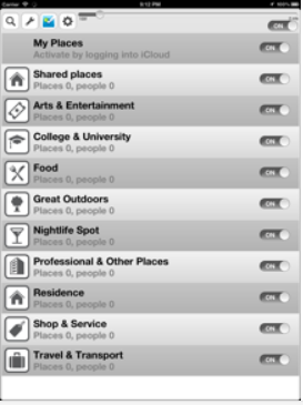 """An iPad's screen with a listing of My Places: such as Shared places, Arts & Entertainment, College & University, Food, Great Outdoors, Nightlife Spot, Professional & Other Places, Residence, Shop & Service, and Travel & Transport. Each of these categories have an icon, a slide button that in this example reads """"on"""", and a number for Places and People in each category. The topmost line is also """"on"""" and it has the search icon, wrench, and settings icon."""