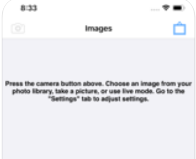 "A partial screen of an iPhone that shows the word ""Images"" in the middle of the first line, with an icon of a camera to its left and a blue icon rectangle on its right. The text below this reads, "" Press the camera button above, Choose an image from your photo library, take a picture, or use live mode. Go to the ""settings"" tab to adjust settings""."