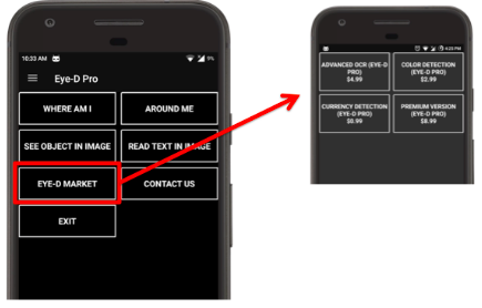 Two partial screens of an iPhone. The larger has a black background with white text boxes arranged in a 2x4 grid. These are menu options with one encircled by red with a red line and arrow pointing to the other partial iPhone pic which has a sub-menu in a 2x2 grid.