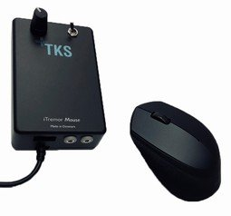 A small rectangular device with a cord attached, outputs on the end, controls on the front, and a mouse next to it.