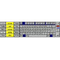 A grey on-screen keyboard interface with certain keys highlighted in yellow.