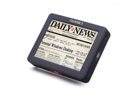 A gray rectangular device featuring a newspaper magnified on the screen.