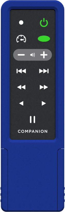 A long blue rectangular device with a menu options including power, volume, play, pause, fast-forward, rewind, and other options.