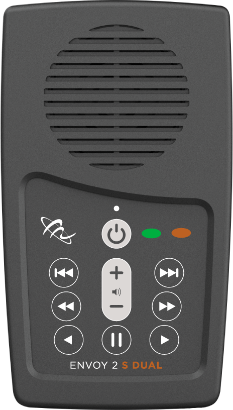A gray rectangular device with a speaker at the top and menu options below, including volume, power, play, fast-forward, rewind, and other options.