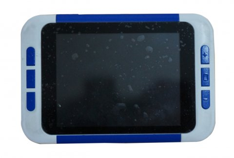 A blue and gray handheld video magnifier with menup options on the left and right.