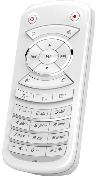 A white remote type of device with play, pause, rewind, and fast-forward buttons above a number pad.