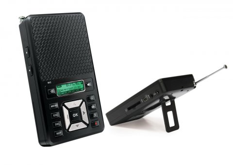 A black rectangular device with a speaker above menu options next to a smaller rectangular device with a stand and an antenna.