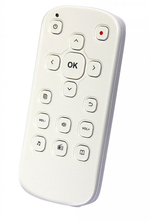 A white remote control type device with menu options such as power, OK, volume, and directional arrows.