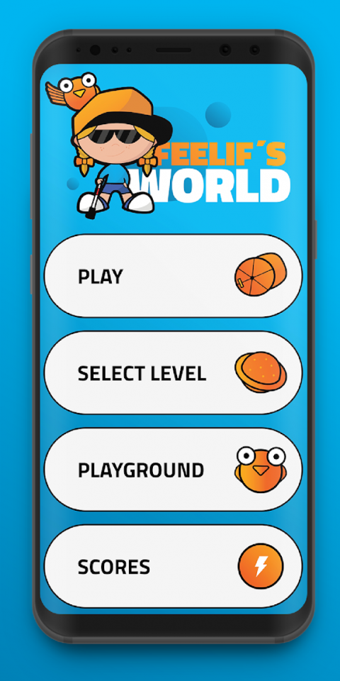 Menu options, including play, select level, playground, and scores.