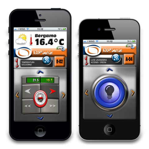 HiDOM SmartSet app opened on two iPhones. One phone display shows the temperature with buttons to increase in red or decrease, which is white. The other phone has a large blue button with a light bulb on it surrounded by 4 arrows, one each at the four compass points.