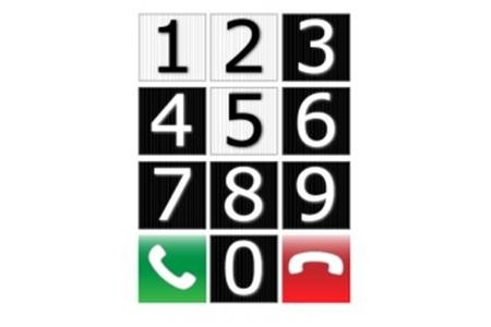 """Keypad with numbers 1, 2, 5 are black on white keys; 3,4,7-9 are white on black keys. The bottom row has a white phone on a green key in a """"use"""" position on the left, and a white phone on a red key with a phone at rest on the right"""